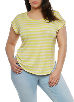 Plus Size Striped T Shirt - 1810020628091