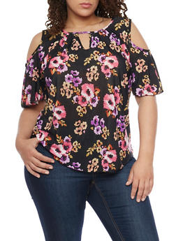 Plus Size Printed Cold Shoulder Top with Short Flutter Sleeves - PURPLE - 1810020628675
