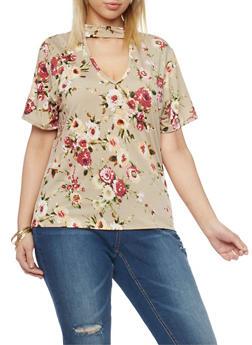 Plus Size Floral Keyhole Choker Top - 1810020629675