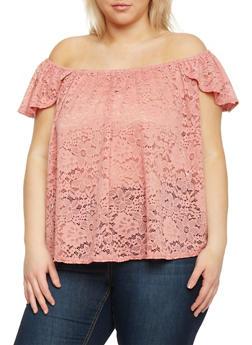 Plus Size Lace Off the Shoulder Top - 1810054211774