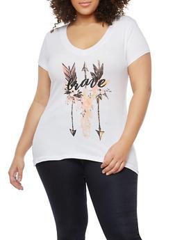 Plus Size Brave Arrow Graphic T Shirt - 1810054260141