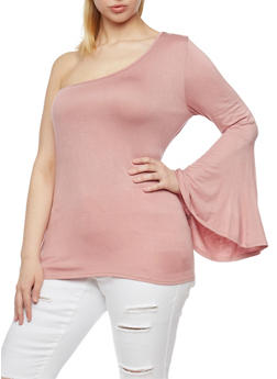 Plus Size One Shoulder Top with Long Bell Sleeve - 1810054264763