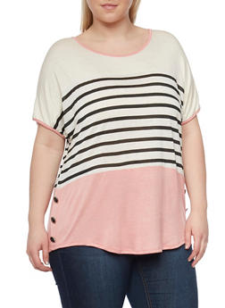 Plus Size Striped Color Block Top with Side Buttons - 1810058751703