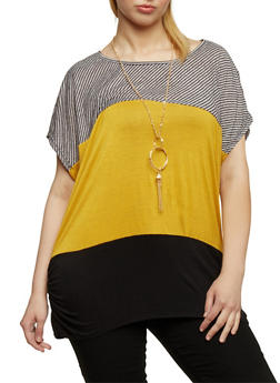 Plus Size Short Sleeve Striped Color Block Top with Necklace - 1810058757137