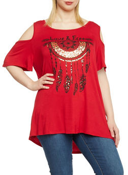 Plus Size Graphic Print Cold Shoulder Tunic Top - RED - 1810061359645
