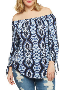 Plus Size Off the Shoulder Tie Dye Shirttail Top - 1810063405860