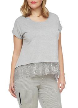 Plus Size Lace Hem High Low T Shirt - 1810073056612