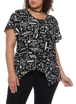 Plus Size Aztec Print Shirt with Sharkbite Hem - 1810073056616