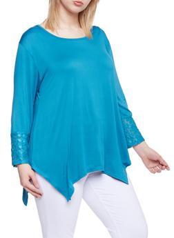 Plus Size Asymmetrical Lace Trim Top - 1810073056620