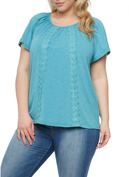 Plus Size Short Sleeve Top with Crochet Accent - 1810073056625