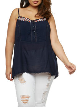 Plus Size Pleated Bib Cami with Embroidered Trim - 1811051066904
