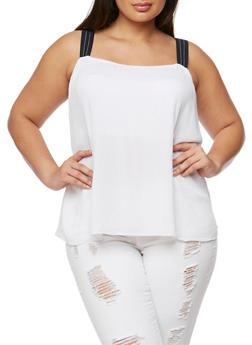 Plus Size Sleeveless Crinkle Knit Flyaway Top - WHITE - 1811051066925