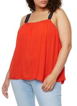 Plus Size Sleeveless Crinkle Knit Flyaway Top - 1811051066925