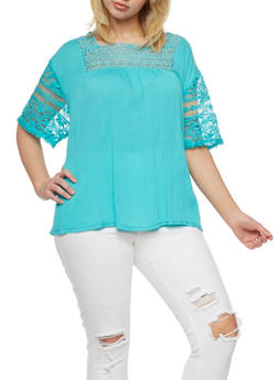 Plus Size Gauzy Top with Lace Bib and Short Sleeves - 1811051066927