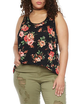 Plus Size Floral Lace Trim Tank Top with Split Back - 1811054268132