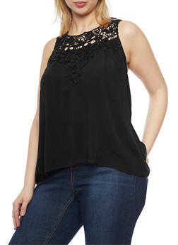 Plus Size Sleeveless Crochet Yoke Top - 1811054269235