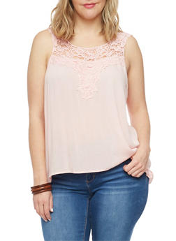 Plus Size Sleeveless Crochet Yoke Top - 1811054269235