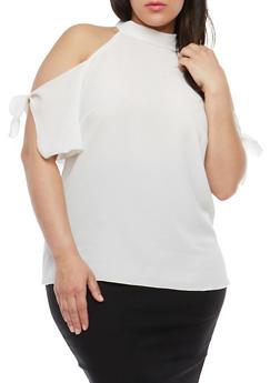 Plus Size Mock Neck Cold Shoulder Top - IVORY - 1812020621556