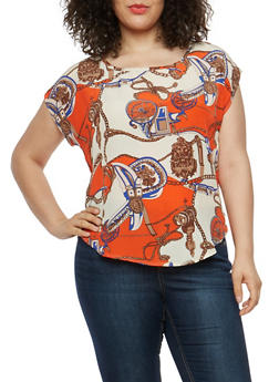 Plus Size Printed Top - 1812020624080