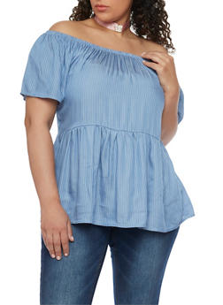 Plus Size Pinstriped Off the Shoulder Babydoll Top - 1812020625680