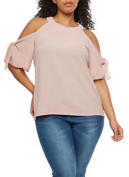 Plus Size Cold Shoulder Tie Sleeve Top - 1812020626265