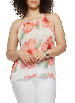 Plus Size Sheer Floral Top - 1812020626811
