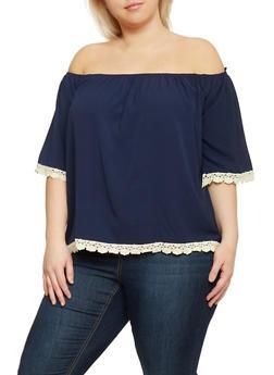 Plus Size Crochet Trim Off The Shoulder Peasant Top - 1812035042323