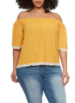 Plus Size Crochet Trim Off The Shoulder Peasant Top - MUSTARD - 1812035042323