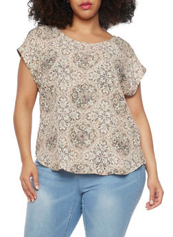 Plus Size Short Sleeve Printed Blouse - 1812051066783