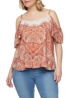 Plus Size Printed Cold Shoulder Top with Lace Trim - 1812051066921