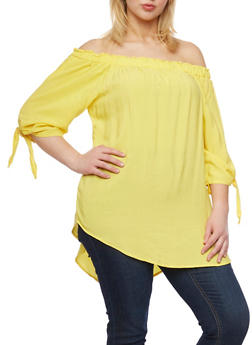 Plus Size Off the Shoulder High Low Top - 1812051066925