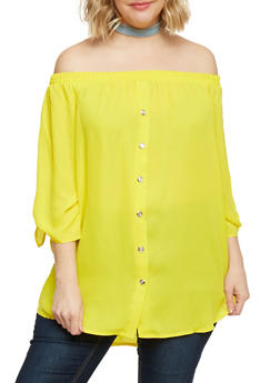 Plus Size Off the Shoulder Button Front Top with Tie Sleeves - 1812051066928