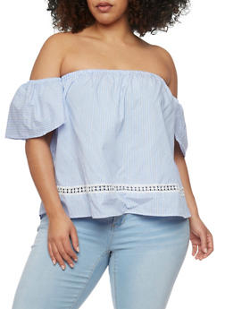 Plus Size Off the Shoulder Peasant Top with Flutter Sleeves - LT BLUE/WHT - 1812051066993