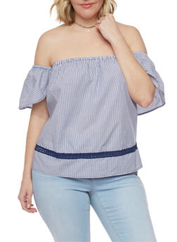 Plus Size Off the Shoulder Peasant Top with Flutter Sleeves - NAVY/WHITE - 1812051066993