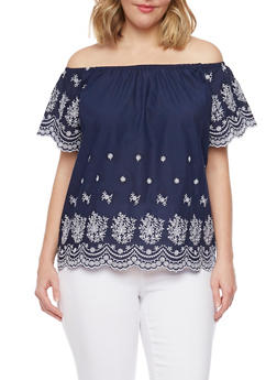 Plus Size Off the Shoulder Embroidered Peasant Top - NAVY - 1812051069094