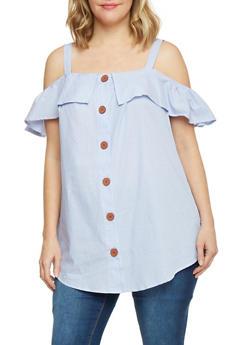 Plus Size Cold Shoulder Big Button Front Top - 1812051069169