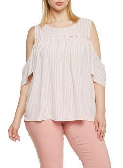 Plus Size Vertical Striped Cold Shoulder Peasant Top - BLUSH/WHITE - 1812051069170