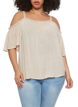 Plus Size Crochet Trim Cold Shoulder Top - 1812051069201
