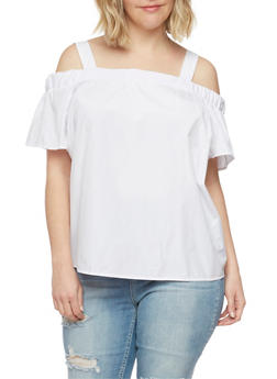 Plus Size Solid Off the Shoulder Top with Straps - WHITE - 1812051069257