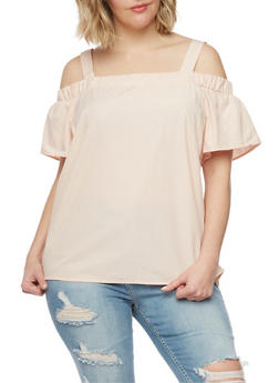 Plus Size Solid Off the Shoulder Top with Straps - BLUSH - 1812051069257