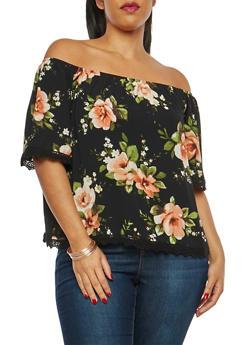 Plus Size Floral Print Off the Shoulder Top - 1812054260254