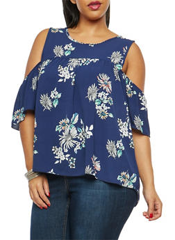 Plus Size Navy Floral Print Cold Shoulder Top - 1812054262471