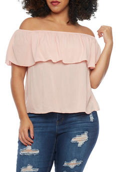Plus Size Ruffled Off The Shoulder Top - 1812054262636