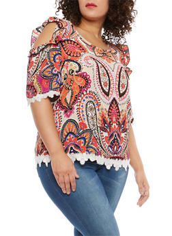Plus Size Printed Cold Shoulder Top with Crochet Detail - 1812054263351