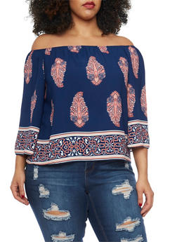 Plus Size Off The Shoulder Abstract Print Top - 1812054263700