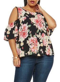 Plus Size Floral Print Cold Shoulder Top - 1812054265247