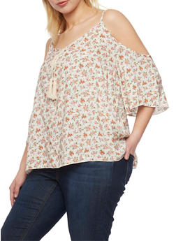 Plus Size Floral Cold Shoulder Top - 1812054266647