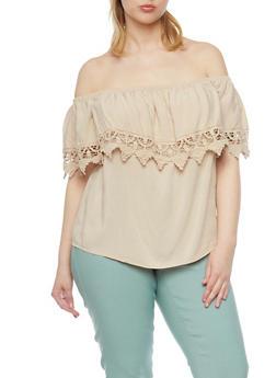 Plus Size Off The Shoulder Crochet Trim Blouse - 1812054269444