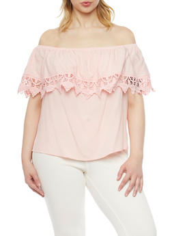 Plus Size Off The Shoulder Crochet Trim Blouse - 1812054269444