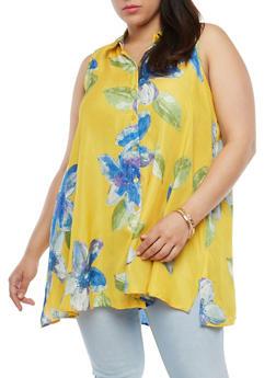 Plus Size Floral Button Front Top - 1812056122469